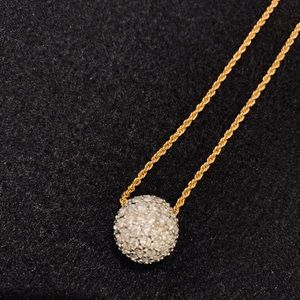 Crystal Sphere Gold Necklace